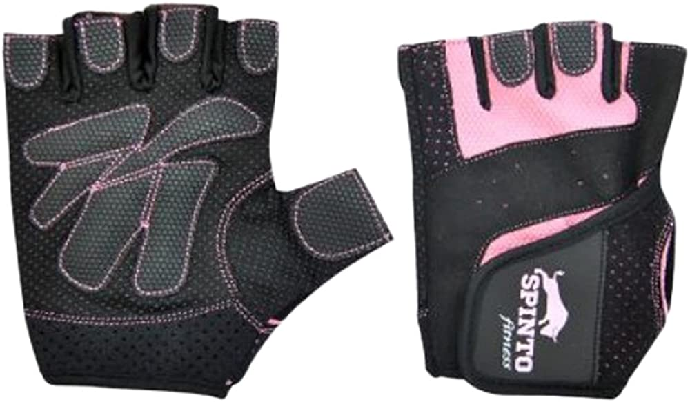 Spinto Fitness Workout Gloves-Pink & Black / L