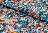 Nadeltraum Baumwoll - Jersey Stoff Federn als Motiv in blau