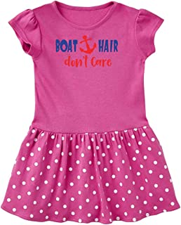 inktastic Boat Hair Don't Care, Anchor, Sailing - Red Blue Toddler Dress