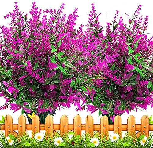 Msrlassn Künstliche Blumen Künstlicher Lavendel 6 Stück Simulation Blume Bouquet Fake Blumen Bouquet für Home Garden Party Hochzeit Dekoration (Fuchsie)