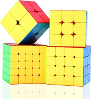 ROXENDA Speed Cube Ensemble Moyu 2x2 3x3 4x4 5x5 Cube Magique Brillant sans Autocollant Cubing Classroom Smooth Puzzles Je...