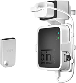 64GB USB Flash Drive + Outlet Wall Mount for Blink Sync Module 2, Koroao Simple Mounting Bracket Holder for All-New Blink Outdoor, Without Messy Wires or Screws (1-Pack,White)