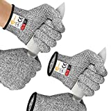 EvridWear 2 Colors 2 Pairs Combo Level 5 Cut Resistant Gloves with Strong Silicone Grip Dots Kitchen Meat cutting Fish Fillet Shucking and Mandolin Slicing Free E-book (M, Gray+Gray)