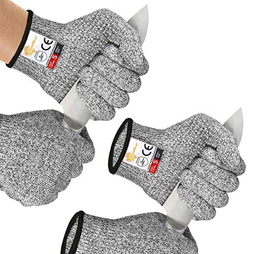2 Pairs EVRIDWEAR Cut Resistant with Silicone Grip Dots, Safety Kitchen Cuts Gloves for Fish Fillet Processing, Mandolin Slicing, and Wood Carving Carpentry Food Grade, Combo Set (Gray + Gray) Medium