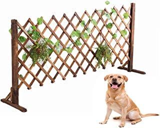 uyoyous Expanding Wood Fence 63inch Decorative Fence for Home Garden Pet Dog Barrier Safety Gate (2 Pack)