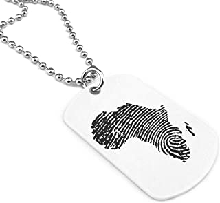 Africa DNA Fingerprint. Military Style Dog Tag Pendant Jewelry Necklace Chain
