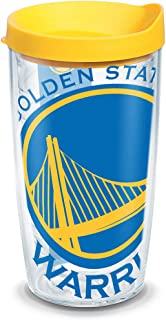 Tervis 1126910 NBA Golden State Warriors Colossal Tumbler with Wrap and Yellow Lid 16oz, Clear