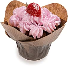 Daffodil Petal Baking Cups: Brown 1.3-oz Grease Proof Paper Baking Cup - Perfect for Muffins, Cupcakes or Mini Snacks – Disposable and Recyclable – 200-CT – Restaurantware