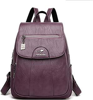 Backpack,Women Backpacks pu Leather School Backpacks for Girls high Capacity Travel Backpack Leisure Shoulder Bags,Purple,25cm x 12cm x 30cm,MultipurposeDurable
