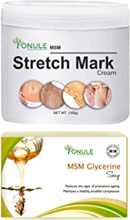Ionule MSM Stretch Mark Cream with Glycerine Soap for Men and Women Combo Pack of 2 - (2 X 90 gm)