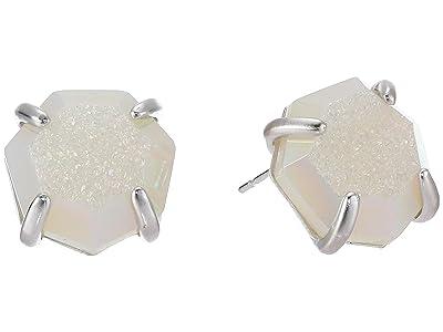 Kendra Scott Ryan Stud Earrings (Rhodium/Iridescent Drusy) Earring