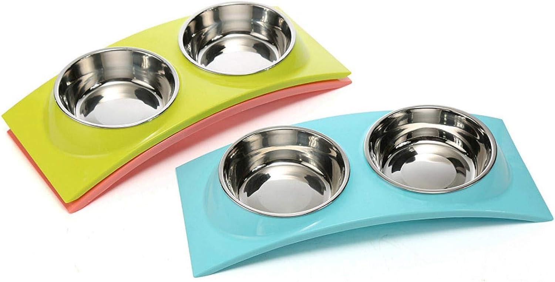 AWJ06 Multipurpose Double Bowl Dog Basin Pet Bowl Cute Cat Basin Teddy Basin Stainless Steel Bowl Tar Antiskid Design (3 Pieces)