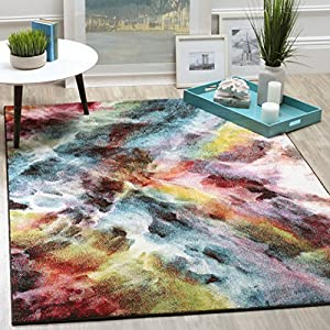Safavieh Galaxy Collection GAL110A Vibrant Abstract Non-Shedding Stain Resistant Living Room Bedroom Area Rug, 5'3″ x 7'6″, Multi