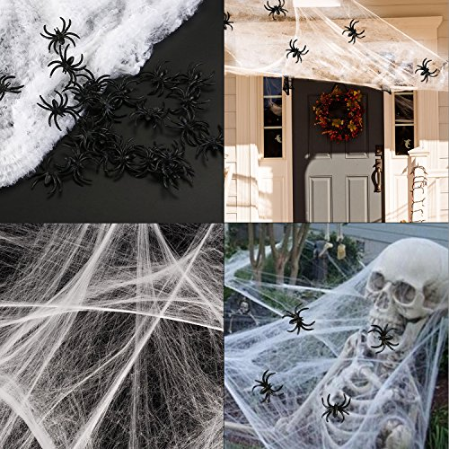 HOTSAN Decorazioni di Halloween di ragnatele estensibili - Ragnatela spettrale all'aperto Coperta con 25 Ragni Falsi, Ragnatela per Decorazioni spaventose per Feste di Halloween
