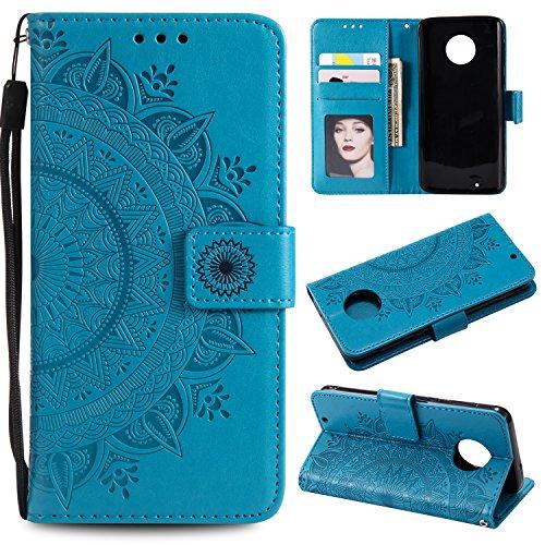 FEYYXI Handyhülle für Moto G6 Hülle Leder Schutzhülle Brieftasche mit Kartenfach Stoßfest Handyhülle Case für Motorola Moto G6 / Moto 1S - FEHH11277 Blau