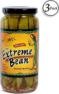 The Extreme Bean - Hot & Spicy, Pickled Green Beans. 16 oz (3 pack)