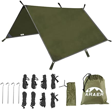 "ARAER Tent Tarp, Hammock Rain Fly, 114"" x 114""/9.5ft, 600g/1.32lbs, 2000PU Waterproof, Windproof, UV 50+ Sunshade, Essential Survival Camping/Hiking/Backpacking/Cycling Gear, 4 Stakes and 8 Ropes"
