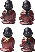 Baoblaze 4PCS Little Monk Standing Statue Feng Shui Mini Resin Lucky Buddha Figurine