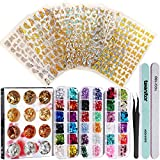Teenitor Nail Art Decoration Kit with 8 Sheets Nail Art Adhesive Sticker Different Laser Gold and Silver Color Butterfly Heart Nail Sequins Nail Foil Flakes Nail Rhinestones and Nail Tweezers