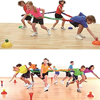 Sonyabecca 6 Feet Elastic Fleece Cooperative Stretchy Band Integrations Dynamic Movement Exercise Latex Band Stretchy Creative Movement Prop for Group Activity Special Needs Large Motor Coordination