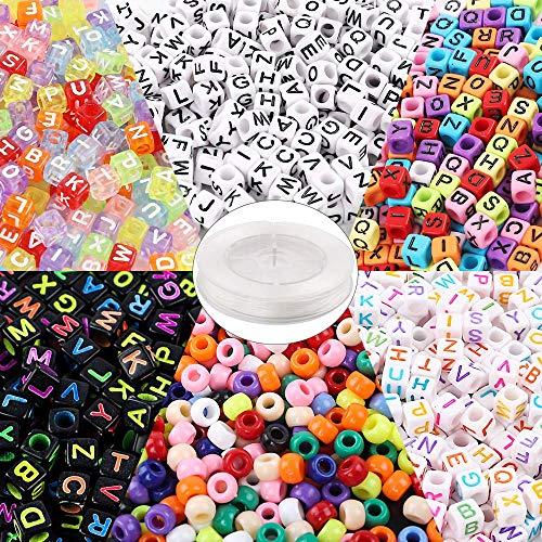 Outuxed 1400 Stück Buchstabenperlen und Großlochperlen in 6 Stilen mit 1 Rolle 50-Meter Elastikschnur für Armbänder, Halsketten, Schlüsselanhänger und Andere Schmuckherstellung