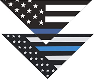 Native Pup Thin Blue Line Dog Bandana  Package of 2  Police Law Enforcement Support Handkerchief Bandanna