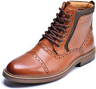 Leather Oxfords, Stylish and Comfort Chelsea Ankle Boots with Zipper Brown