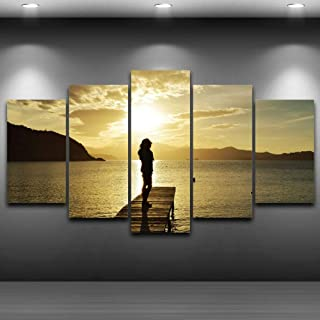 Jason Ming Canvas Art Hd Printed Painting Modular Girl Pictures Home Decor Photo Frame 5 Panels Indian Figure Women Poster Wall