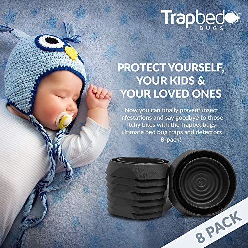 Trapbedbugs Bed Bug Interceptors - Bedbug Traps and Detectors for Bed 8 Pack - Bugs Detector Trap System for Beds - Climb Up Prevention Interceptor Cups - No Pesticides, Chemicals Or Powder – Black