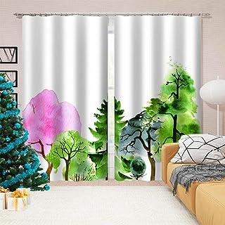 3D高品质印刷 窗帘 隔热 卧室 客厅用 防紫外线 保温 窗帘套装 悬垂窗帘 时尚 高级感的面料 客厅 节能 提高冷暖气效率-樹木 140*100cm