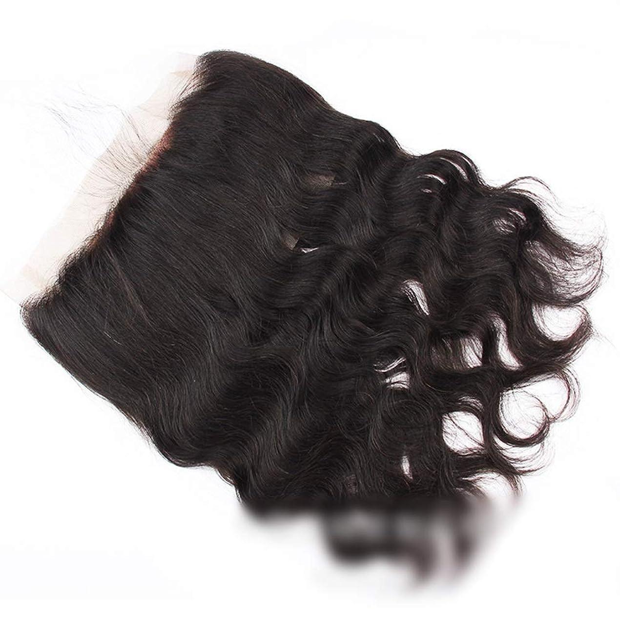 ラック是正するYESONEEP 360レース閉鎖ブラジル実体波髪バージン人間の髪360前頭レース閉鎖自由な部分ナチュラルカラーロングカーリーウィッグ、 (色 : 黒, サイズ : 16 inch)