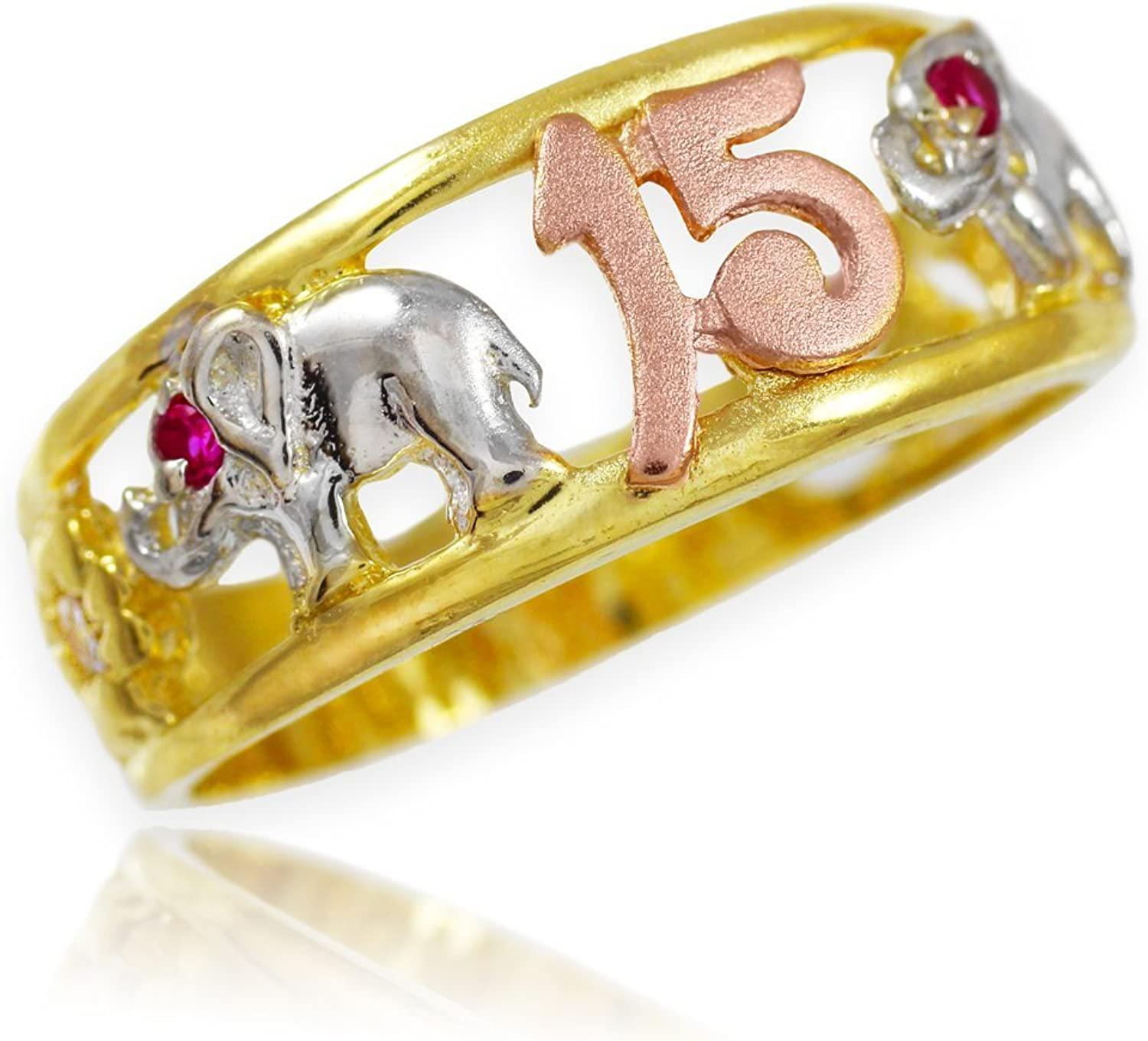 14k TriTone gold 15 Anos Quinceanera CZ Ring with Elephants