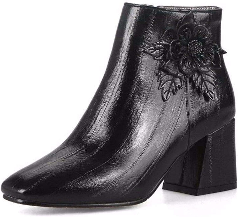 AIKAKA Frauen Herbst und Winter Europa und Amerika Sexy warme quadratische Kurze Stiefel  | Sehr gute Qualität