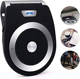 Autopmall Bluetooth Car Kit, Bluetooth Speakerphone Handsfree Speaker Phone Support Bluetooth 4.1 EDR Wireless GPS Speaker in-Car Music Player Built in Mic with Clip and Car Charger (Black)