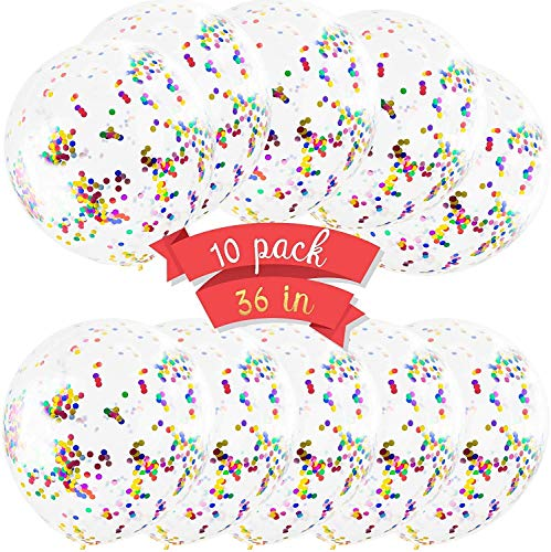 36 Inches Balloons with Confetti - 10 Pack Jumbo Extra Large Balloons Transparent Latex Filled with Multicolored Glitter Confetti Perfect for Any Type of Party Celebration Wedding Engagement Birthday