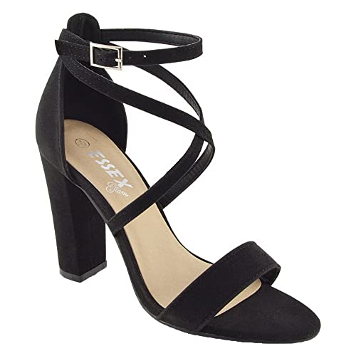 964b5e414c30 ESSEX GLAM Womens Ankle Strap Block Heel Sandals Ladies Strappy Buckle Prom  Party Shoes Size 3