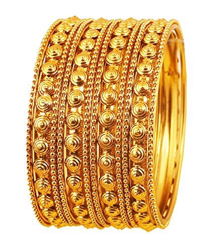 Touchstone Armreif Kollektion Indischer Bollywood Putz Look Exklusive Prägung Designer Schmuck Armreifen Armbänder für Damen 2.5 Set von 12 Gold