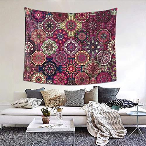 ZVEZVI Colorido Vintage Floral Tapiz de Mandala Arte de la Pared para la Sala de Estar Dormitorio decoración del Dormitorio 60ʺ × 51