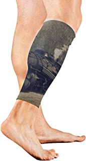 Vintage Black Steam Powered Railway Train Calf Compression Sleeve Leg Compression Socks For Shin Splint Calf Pain Relief Men Women And Runners Improves Circulation Recovery