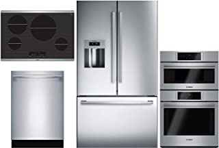 "Bosch Kitchen Package B26FT50SNS 36"" French Door Refrigerator,NIT8068SUC 30"" Electric Cooktop,HBL87M52UC 30"" Double Wall Oven/Microwave Combo and SHX878WD5N 24"" Built In Dishwasher in Stainless Steel"