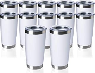 TDYDDYU 12 Pack 20 OZ Double Wall Stainless Steel Vacuum Insulated Tumbler Coffee Travel Mug with Lid, Durable Powder Coat...