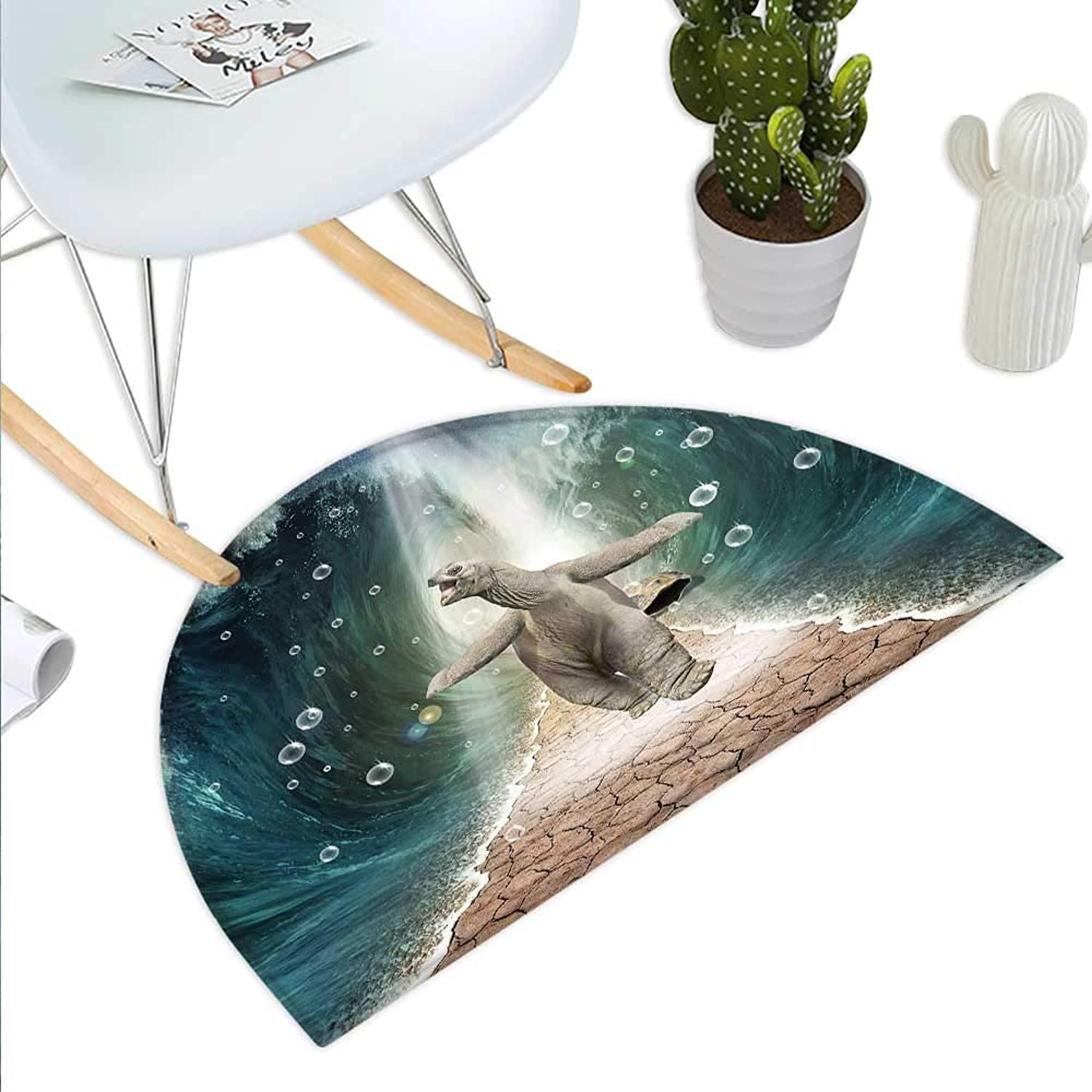 Animal Semicircle Doormat Naked Turtle Left its Big Shell Dividing The Ocean Walking Through Freely Print Halfmoon doormats H 43.3  xD 64.9  Multicolor