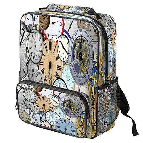 Casual scuola zaino tempo orologio orologi stampa tempo zaino zaino multi-funzionale zaino libro cartella, Motivo: 1., Taglia unica, Zaino Casual