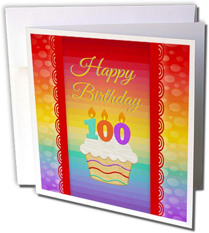 3dRosa gc_244851_2 Grußkarten Cupcake mit Zahlenkerzen, 100 Jahre alt , 12 Stück B0764N4P4B | Rich-pünktliche Lieferung