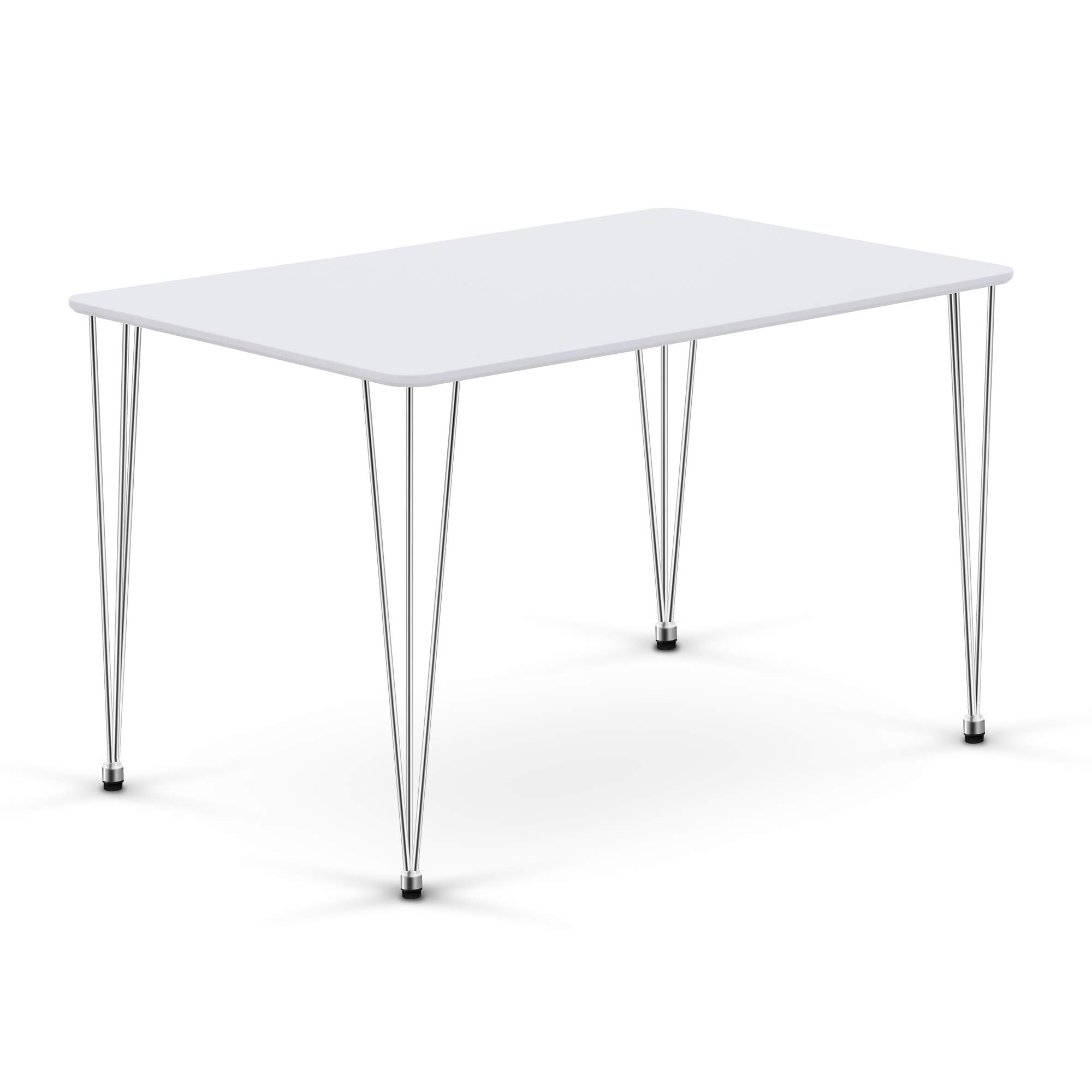 Amazon Com Ivinta Modern Wood Rectangle Dining Table For 4 6 Hairpin White Kitchen Dining Room Table Leisure Coffee Table Computer Desk 47 5 X 30 X 29inch Tables