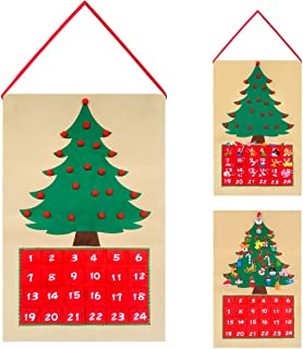 Felt Christmas Tree Ornaments Advent Calendar Set 24 Days Countdown Wall Door DIY Hanging Calendars Xmas Decoration Gift for Kids Traditional Holiday Christmas Decor Theme