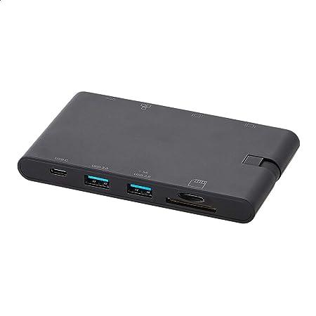 Amazon Basics - Docking Station in alluminio USB 2 tipo C con HDMI, VGA, Ethernet, 2 USB-A, lettore di schede SD/TF, porta dati tipo C (5 Gb/s) e porta di ricarica tipo C, in plastica ABS, nera