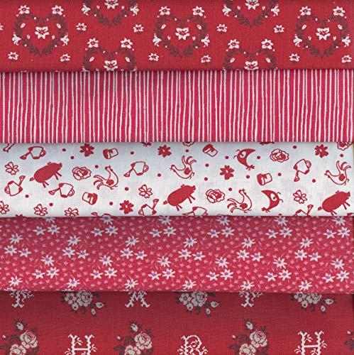 Textiles français Stoffpak Tessuti | Confezione di 5 pezze | Collezione Je t'Adore (Rosso) | 100% Puro Cotone | Ogni Pezzo 35 cm x 50 cm