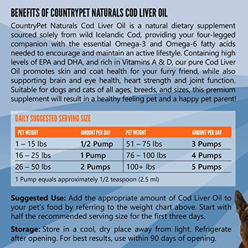 Pure Wild Icelandic Cod Oil for Dogs & Cats (16 oz) - 100% Natural Omega 3 Liquid Pet Food Supplement - EPA & DHA Fatty Acids Promote Healthy Skin & Coat, Stronger Immunity, Improve Joint Function