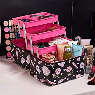 SIBY Leather Rose Printed 3 Layer Makeup Storage Vanity Box Makeup Organizer Storage Box Container Case Jewelry Cosmetic Desktop Storage Box For Women(Without Makeup Item), 1Pc(Black Color)